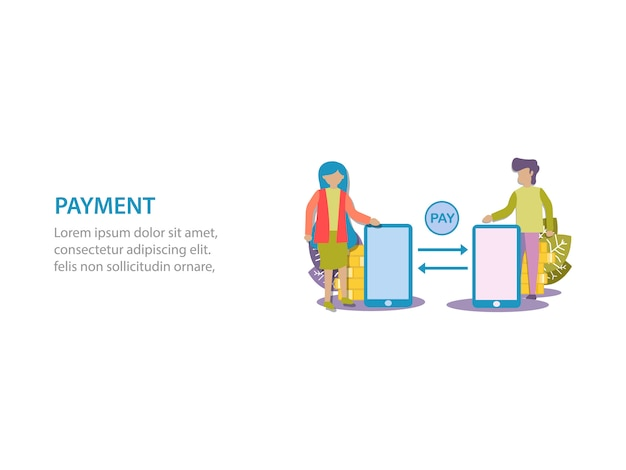 Concept of digital payment background design for web page Premium Vector