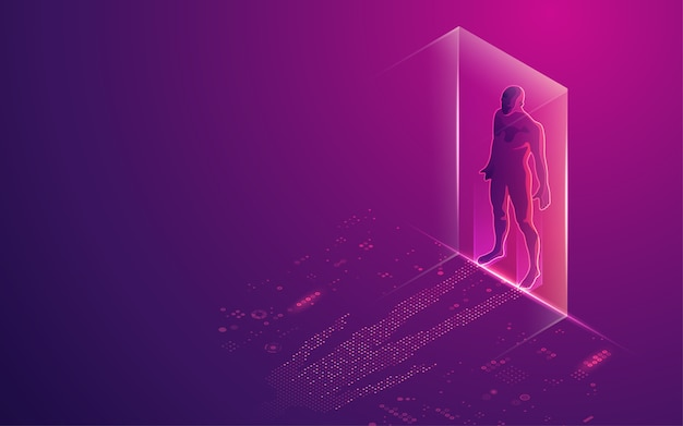 Concept of digital transformation or artificial intelligence (ai), digital man with futuristic element as a shadow Premium Vector