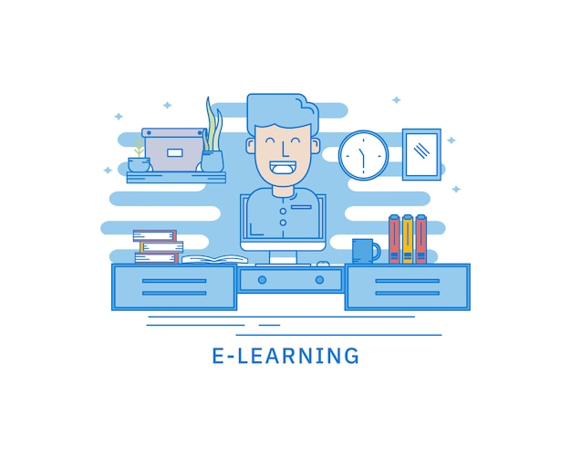 Concept of e-learning mobile library web page concept Premium Vector