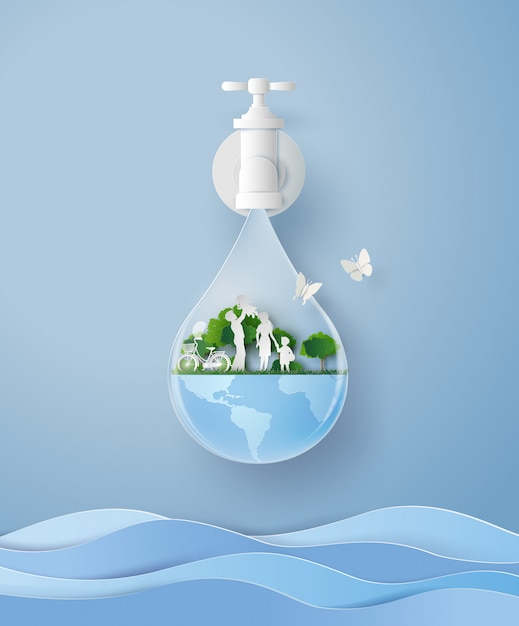 Concept of eco and wolrd water day with family in the garden .paper art and craft style Premium Vector