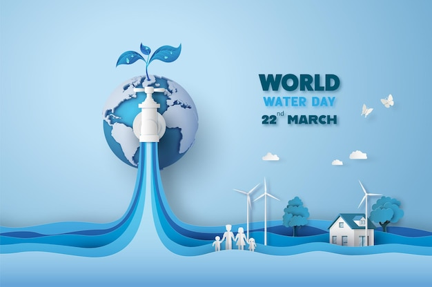 Concept of ecology and world water day . paper art ,paper cut , paper collage style with digital cra