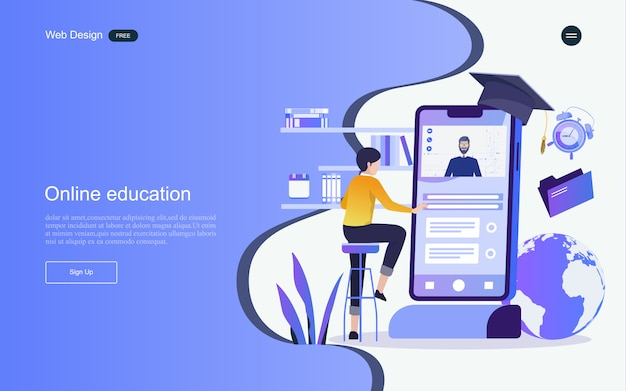 Concept of education for online learning, training and courses. landing page template. Premium Vector