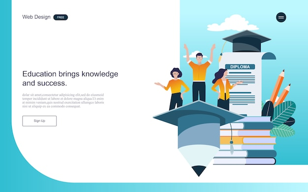 Concept of education for online learning, training and courses. Premium Vector