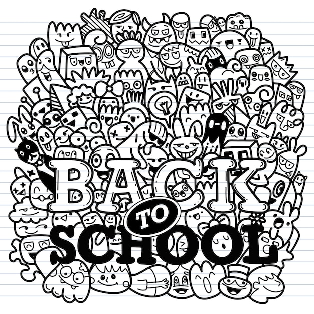 Concept of education. school background with hand drawn school supplies and comic speech bubble Premium Vector