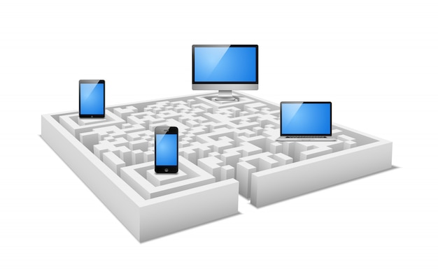 Concept of electronic devices in digital labyrinth Free Vector