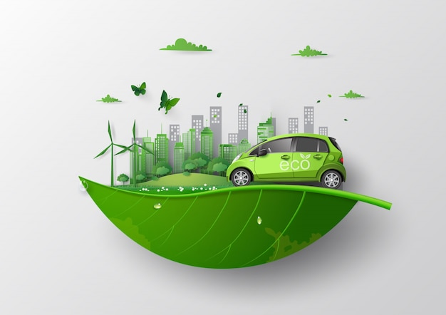 Concept of environmentally friendly  with eco car . Premium Vector