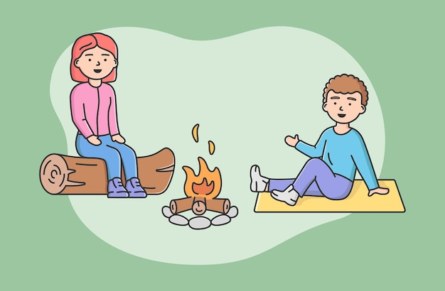Concept of family spending time. happy mother and son sitting on log at campfire together. people communicate and have good time together on vacations. cartoon linear outline flat vector illustration. Premium Vector