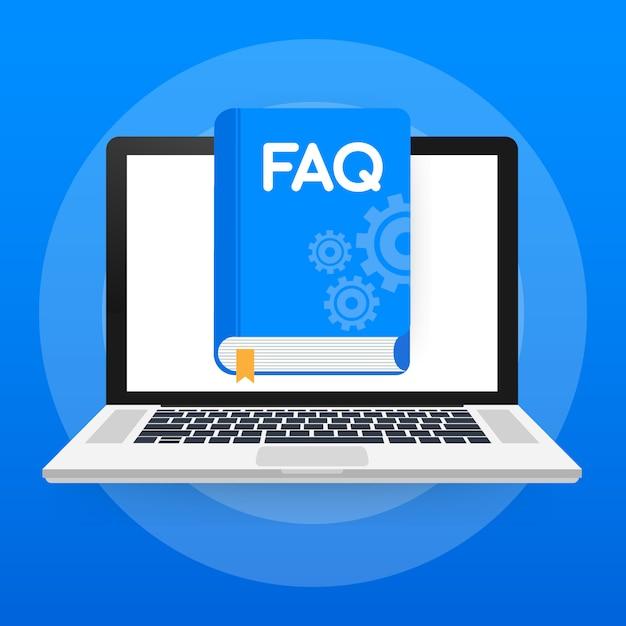 Webページ、バナー、ソーシャルメディアのコンセプトfaqブック。 Premiumベクター