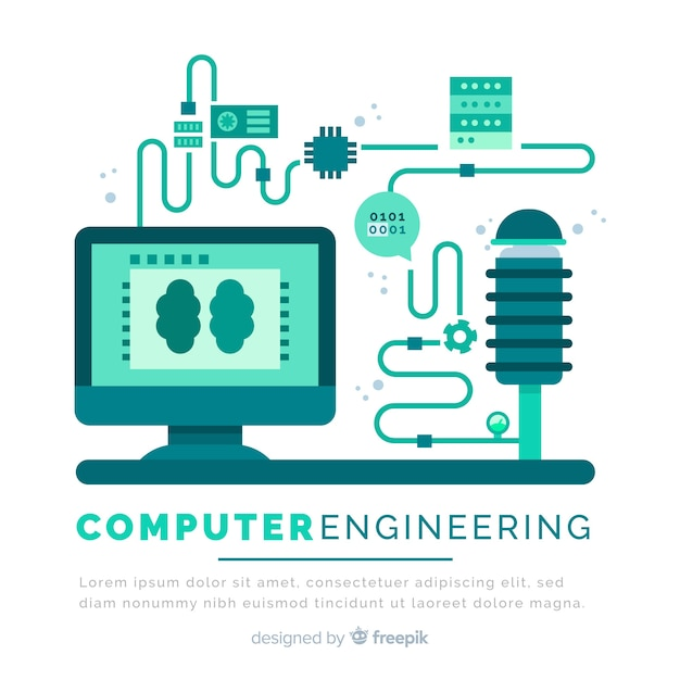 Concept of flat computer engineering Free Vector