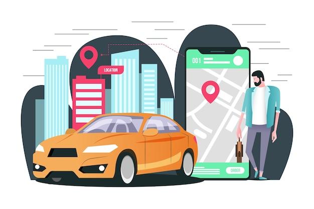 Концепция для применения такси Бесплатные векторы