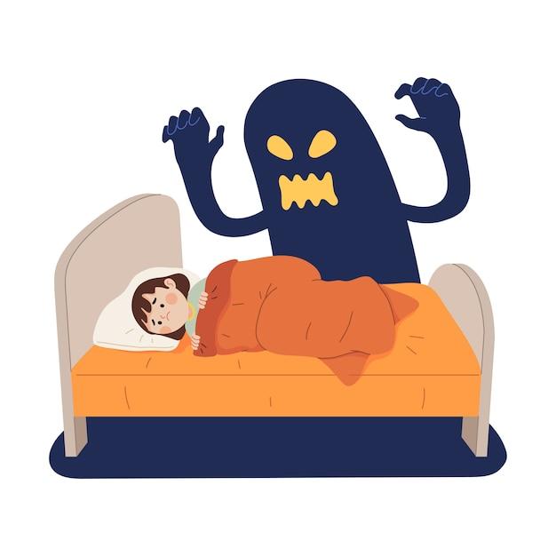 Концепция иллюстрации страха ребенка от призрачных теней на кровати Premium векторы