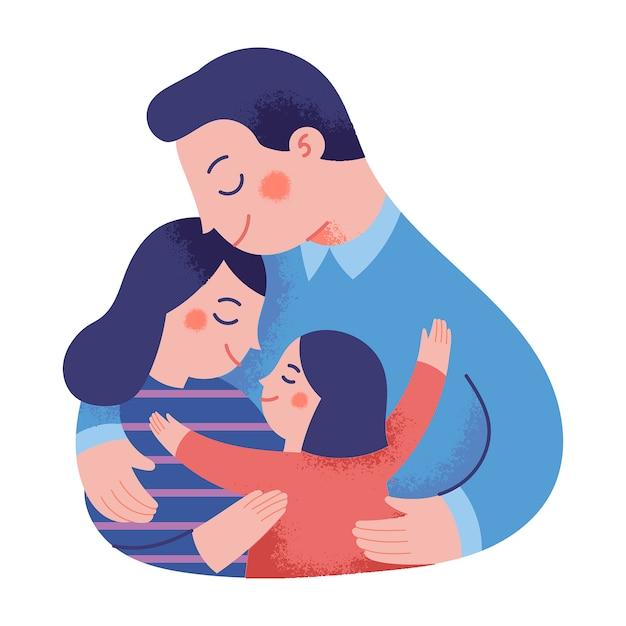 서로 포옹하는 행복한 가족의 개념 그림 프리미엄 벡터