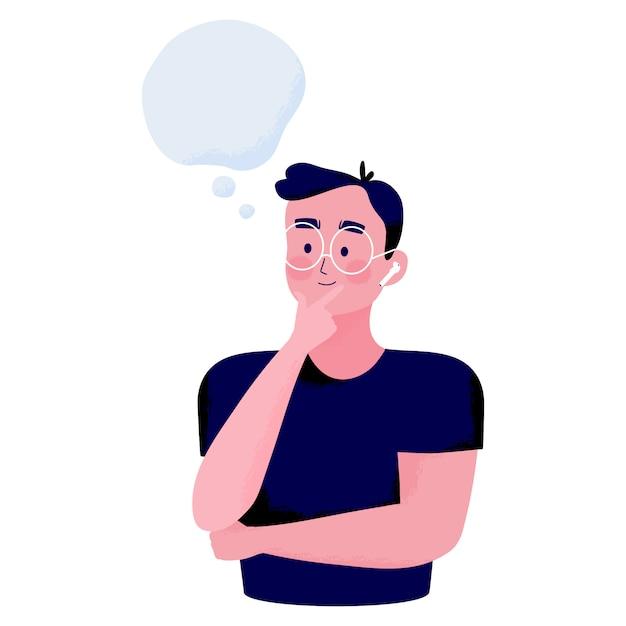 Концептуальная иллюстрация позы молодого человека, положившего палец на подбородок и улыбки, думая о чем-то с пространством для текста Premium векторы