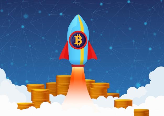 Концепция иллюстрация роста биткойн с ракетой и монетами. криптовалютный насос. Premium векторы