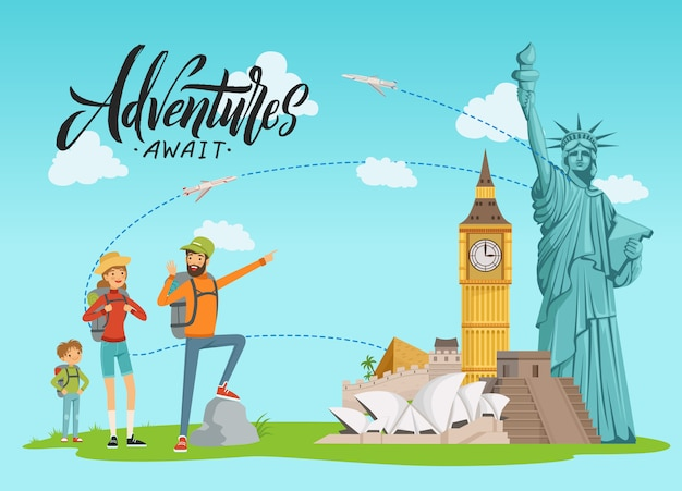 Concept illustration with world sights and happy family painting on them with lettering and clouds Premium Vector