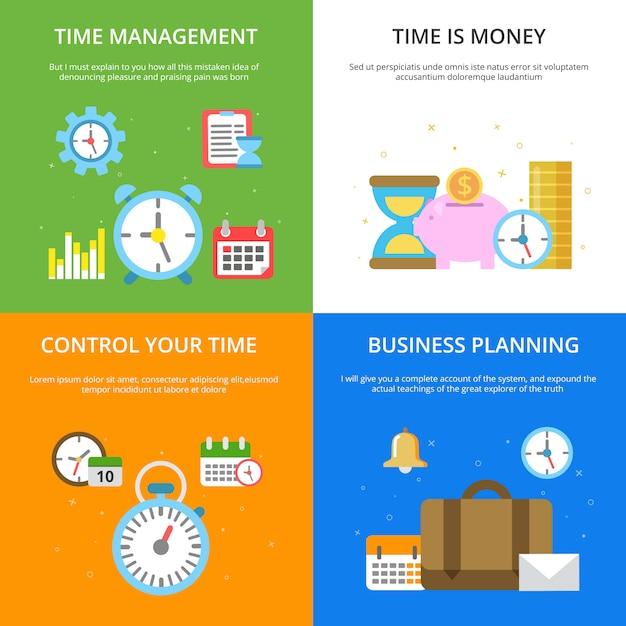Concept illustrations at time management theme. Premium Vector