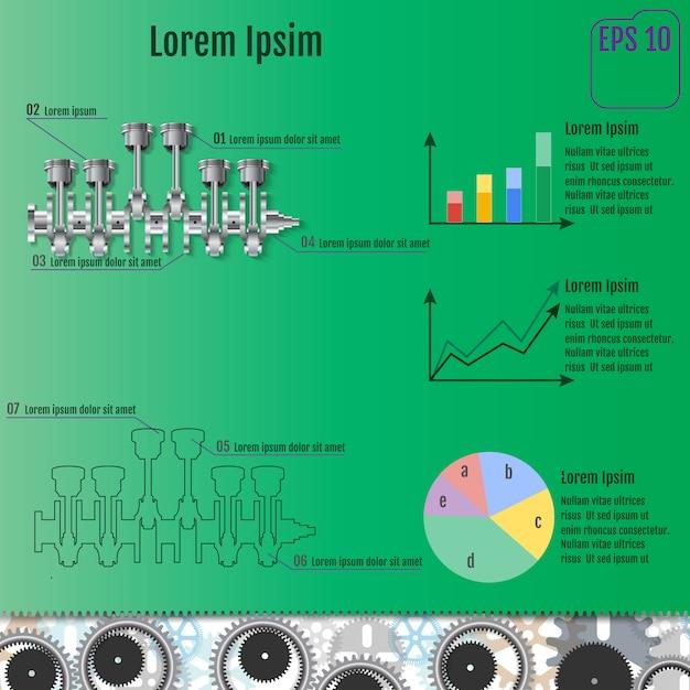 The concept infographic based on the crankshaft. Premium Vector
