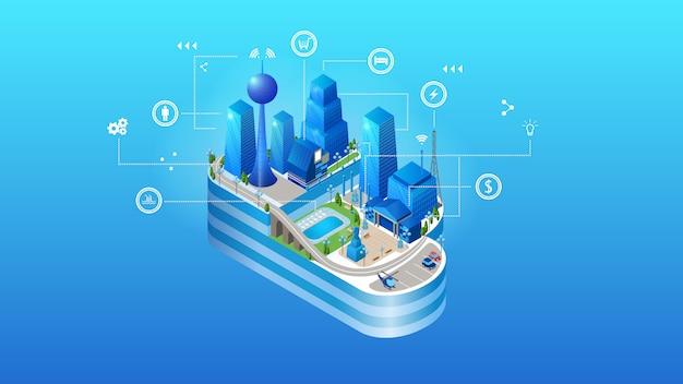 The concept of intelligent smart cloud city Premium Vector