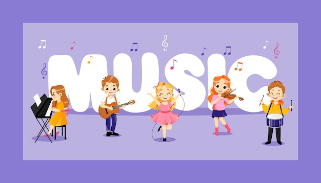 Concept of jazz, pop, rock and classical music performers. talented children play percussion, piano, violin, guitar. kids play concert on music instruments in group. Premium Vector