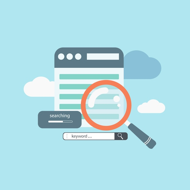 Concept for keyword research, on-page optimization and search engine optimization Premium Vector