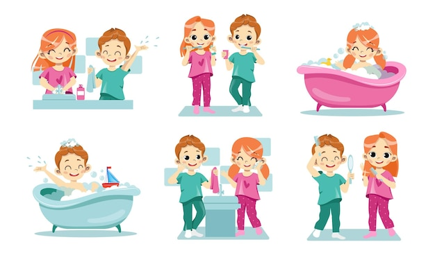 Concept of kids dental health and personal hygiene. Premium Vector