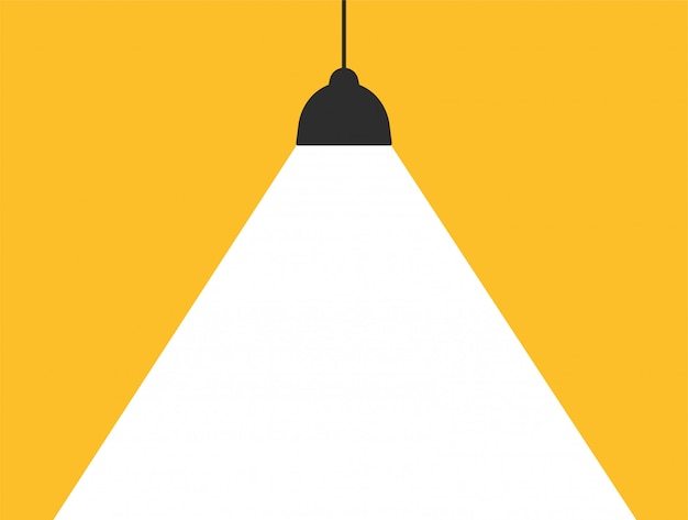 Concept lamp that emits white light on a modern yellow background to add your message. Premium Vector
