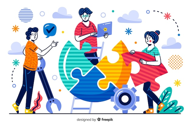 Concept landing page co-workers Free Vector