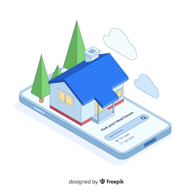 Concept landing page house searching Free Vector