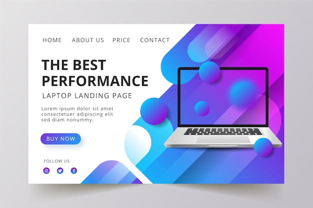 Concept for landing page with laptop design Free Vector