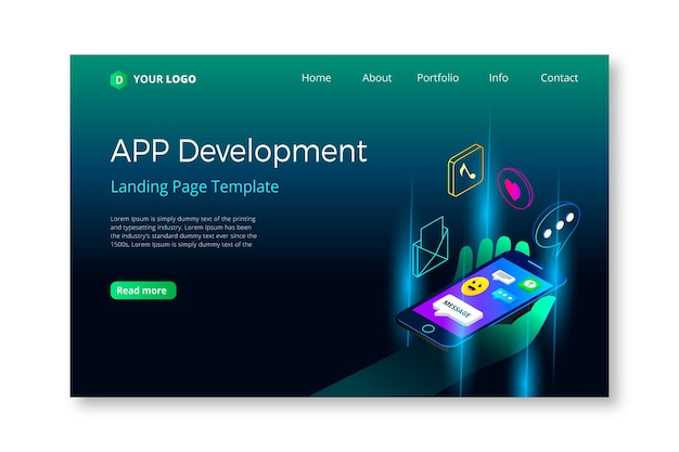 Concept for landing page with mobile design Free Vector