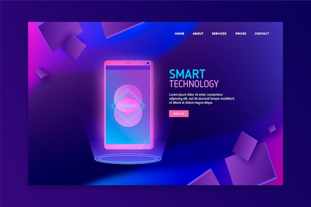 Concept for landing page with smartphone Free Vector