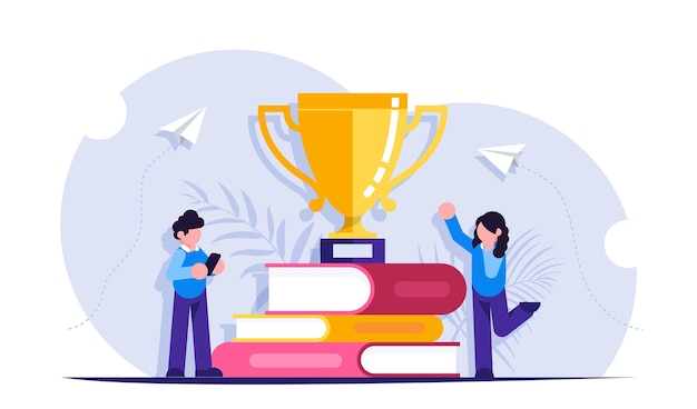 Concept of learning. people received a cup award for studying books Premium Vector