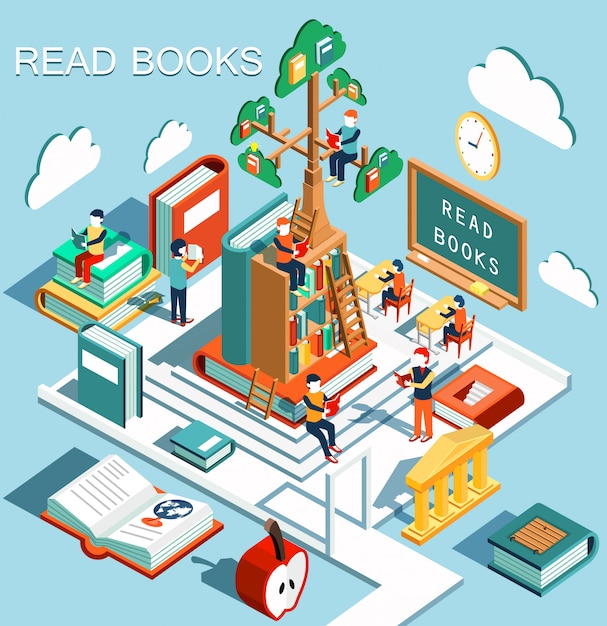 The concept of learning, read books in the library, tree of knowledge, isometric flat design Premium Vector