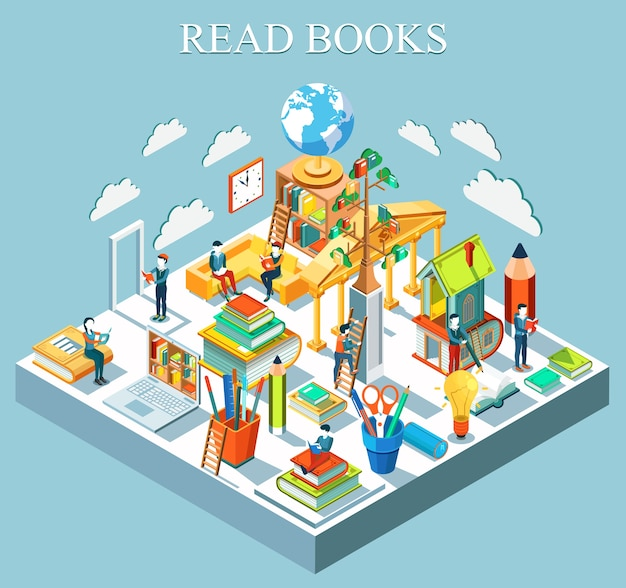The concept of learning and reading books. isometric flat design. . Premium Vector