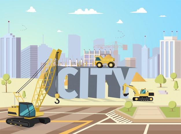 Concept modern city construction buildings Free Vector