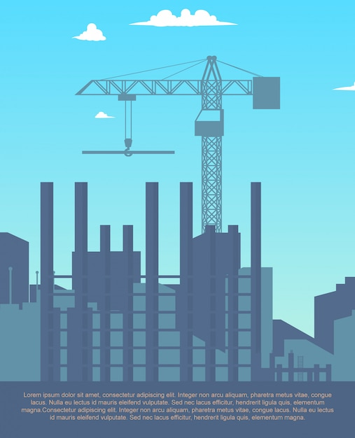 Concept modern city construction buildings Premium Vector