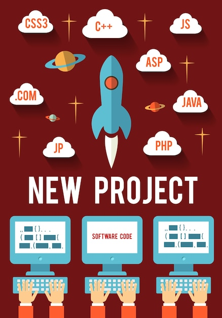 Concept of new business project startup development for web and mobile Free Vector