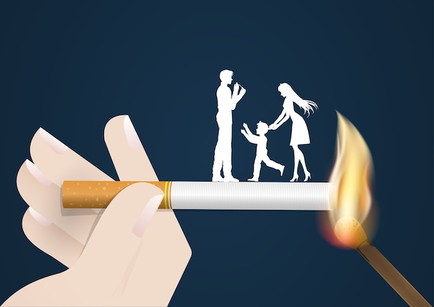 Concept no smoking day world,cigarette lighter danger his wife and son same fired burn the Premium Vector