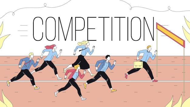 비즈니스 마케팅 전략, 팀워크 및 경쟁의 개념. 목표에 비즈니스 사람들 그룹을 실행하는 비즈니스 도전의 은유. 만화 선형 개요 플랫 스타일. 벡터 일러스트 레이 션. 프리미엄 벡터