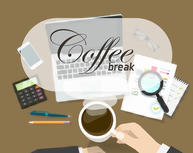 Концепция кофе время на рабочем месте офиса Premium векторы