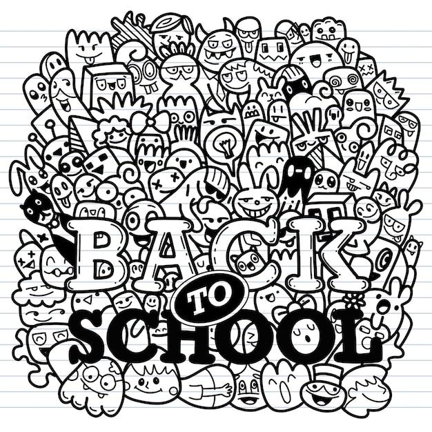 教育の概念。手描きの学用品と漫画の吹き出しと学校の背景 Premiumベクター