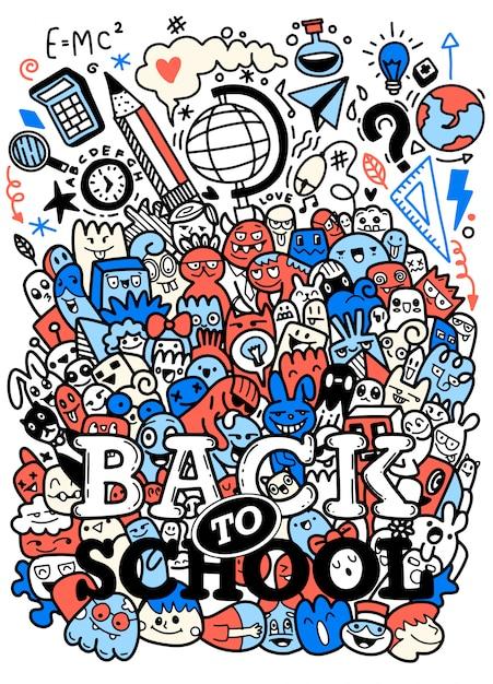 Концепция образования. школа фон с рисованной школьных принадлежностей с надписью снова в школу в стиле поп-арт Premium векторы