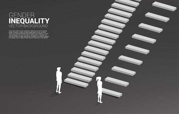 ビジネスにおける男女の不平等と女性のキャリアパスにおける障害の概念 Premiumベクター