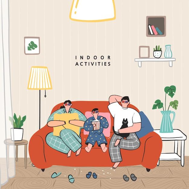 Home.stay at homeコンセプトシリーズでできる趣味のアイデアのコンセプト。家族でプロジェクター、テレビ、ポップコーンを使った映画を見ている Premiumベクター