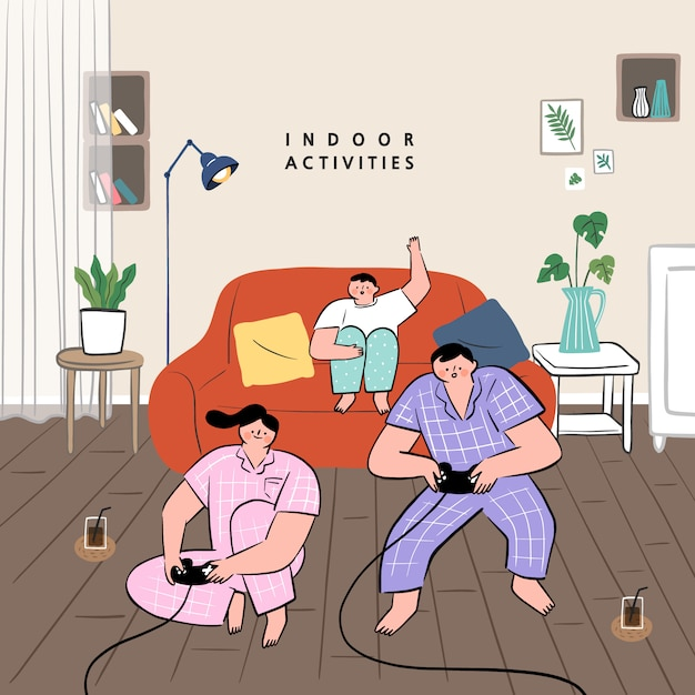 집에서 할 수있는 취미 아이디어의 개념. 거실에서 함께 비디오 게임을 장난 가족. 프리미엄 벡터