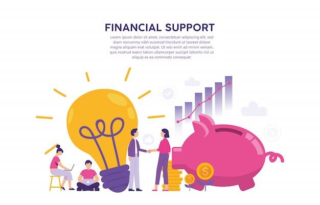 アイデアの所有者のイラストの概念は、資本を所有する投資家と出会う Premiumベクター