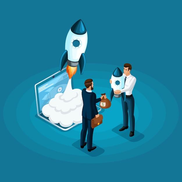 Концепция вложения средств в развитие стартапа ico, запуск ракеты. деловая встреча деловая встреча Premium векторы