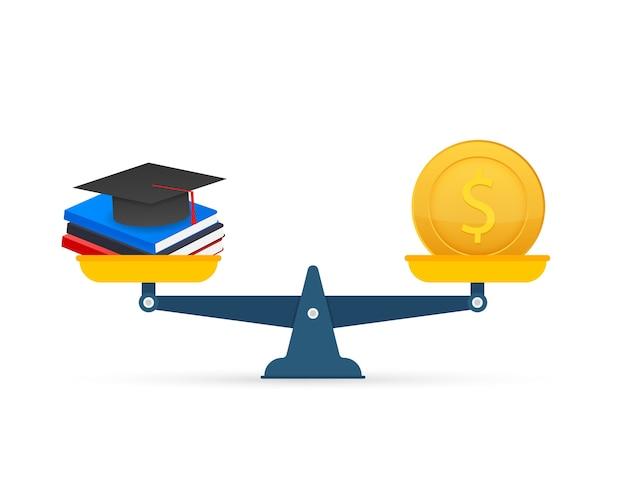 Концепция инвестиций в образование с монетами, книгами и весами. стоковая иллюстрация. Premium векторы