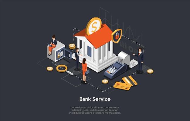 Концепция изометрического банковского обслуживания, сбережений и инвестиций. деловые люди и сотрудники возле здания банка. персонажи ждут консультации с банком. vip-обслуживание клиентов банка. Premium векторы