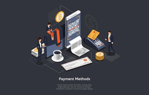 Концепция изометрического метода оплаты. люди платят за товары или услуги, выбирая разные способы оплаты. персонажи расплачиваются картой, наличными, смартфоном или банковским переводом. Premium векторы